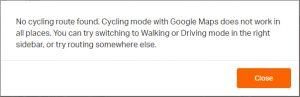No cycling route