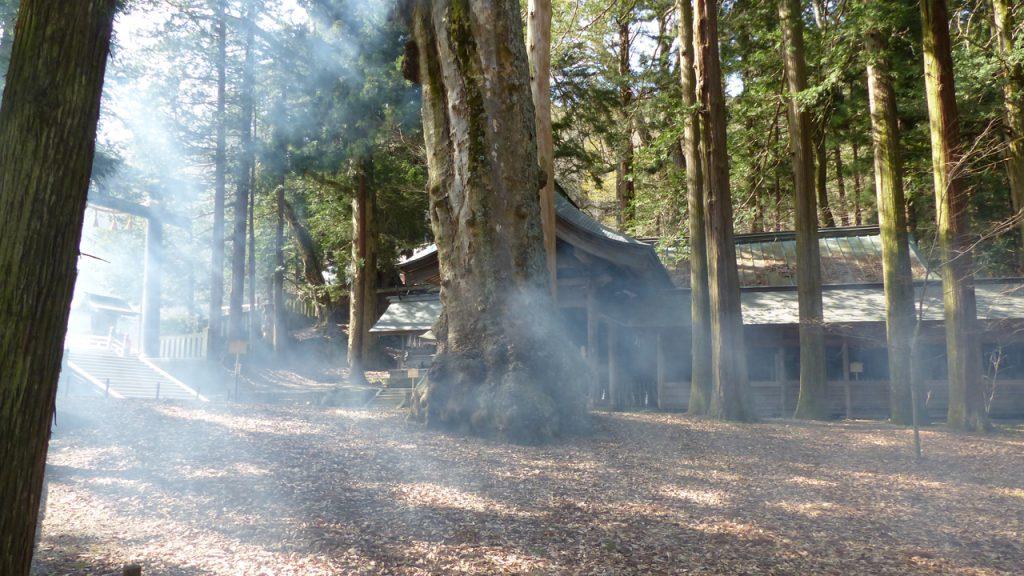 焚き火の煙が神秘的